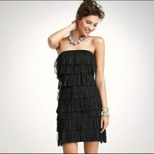 Ann Taylor Tulle Fringe LBD Strapless Dress